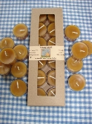 Pure Beeswax Tealights in a gift box of 12 candles.