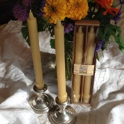 "10"" Beeswax Colonial Taper Candles"